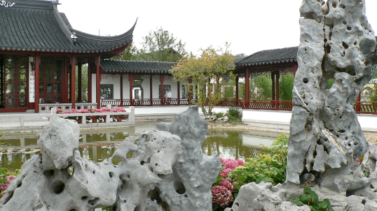 Chinese pond and pavilions